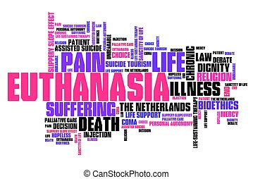 Euthanasia issues and concepts word cloud illustration Word...