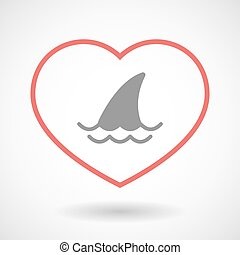 Line heart icon with a shark fin