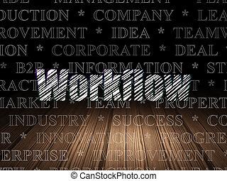 Business concept: Workflow in grunge dark room