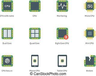Modern computer processor color icons on white background -...