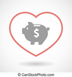 Line heart icon with a piggy bank