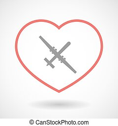 Line heart icon with a war drone - Illustration of a line...