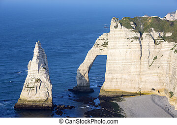 Aerial view of Etretat Aval cliff, Normandy, France