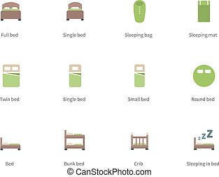 Hotel beds and Sleep signs color icons on white background....