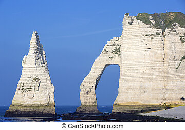 Famous Etretat Aval cliff - Horizontal view of Etretat Aval...