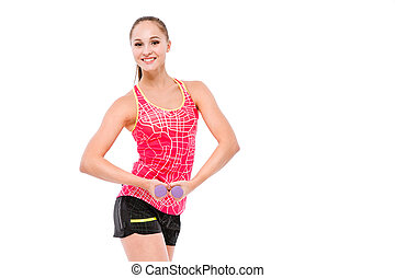 Young sportswoman exercising with weights - Young smiling...