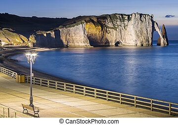 Etretat Aval cliff by night - View of Etretat Aval cliff by...