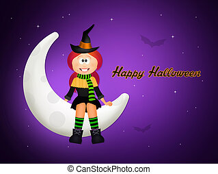 Halloween witch on the moon