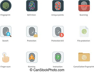Fingerprint color icons on white background - Fingerprint...