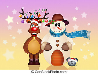 Christmas friends - illustration of Christmas friends