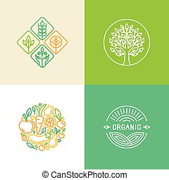 Vector linear logo design template and badges - organic food...