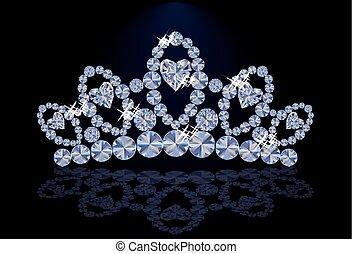 Diamond princess diadem with hearts