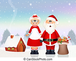Santa Claus delivered gifts with his wife - illustration of...