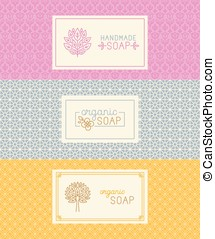 Soap packaging and wrapping paper - Vector set of seamless...