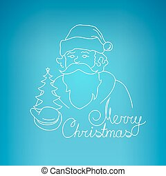 Santa Claus on a Blue Background - Santa Claus Holds in a...