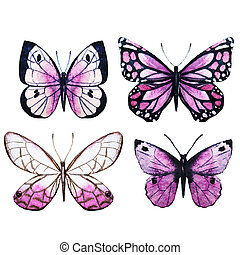 Watercolor butterflies raster - Beautiful raster image with...
