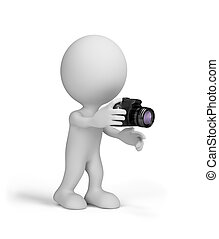 3d man with a camera in his hands. 3d image. White...