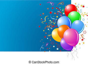 Blue card with colorful balloons and confetti.