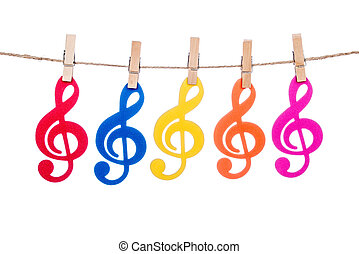 clip on a  twine , hanging colorful music clef artist