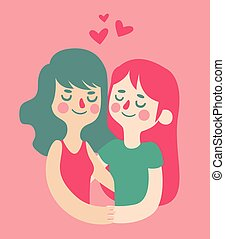 Cute Girls in Love - Vector illustration of a homossexual...