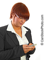 Typing SMS - Girl writing an sms on white background