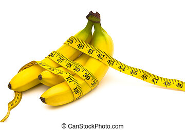 Bananas with a measuring tape on a white background, bananas