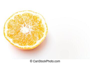 Half of juicy citrus clementine mandarin sweet fruit over...