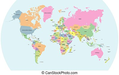 Coloured political map of the world