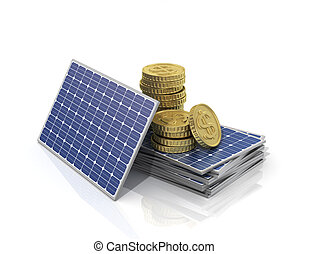 Concept of saving money if use solar panel. Stack of money...