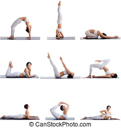 Collage of many aerobics poses by female athlete - Collage...