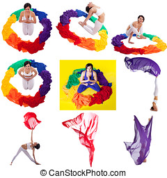 Photo collage Pretty woman doing yoga with cloth - Photo...