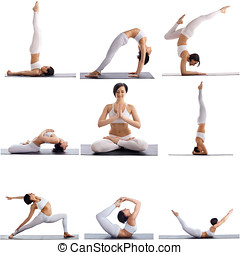 Set of yoga poses by slim woman, isolated on white - Set of...