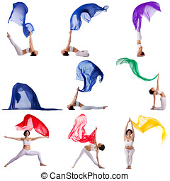Collection of gymnast exercising with flying cloth -...