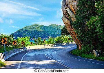 The Big Rock road at Lamai, Samui Island, Thailand, local...