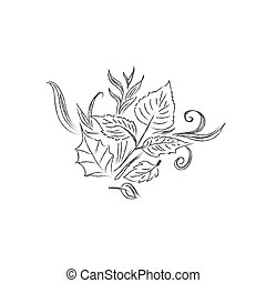 sketch of decor - Sketch, flowers, decor, ornament, vector,...