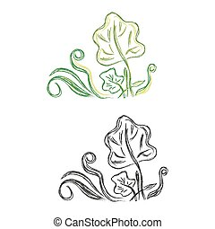 decor ornament - Sketch, flowers, decor, ornament, vector,...