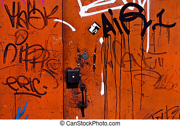 graffiti background - Graffiti on walls of the abandoned...