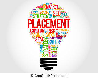 PLACEMENT bulb word cloud, business concept