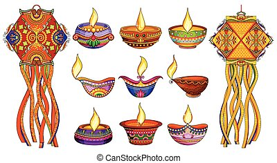Hanging kandil lamp and diya for Diwali decoration -...