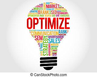 OPTIMIZE bulb word cloud, business concept