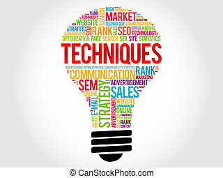 Techniques bulb word cloud, business concept