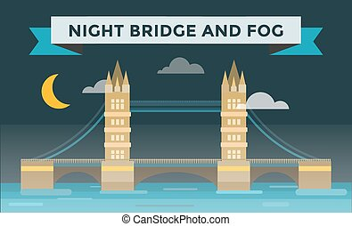 Tower bridge illustration. Night bridge silhouette. Smoke,...
