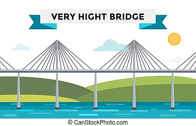 Modern bridge illustration. Vector bridge silhouette....