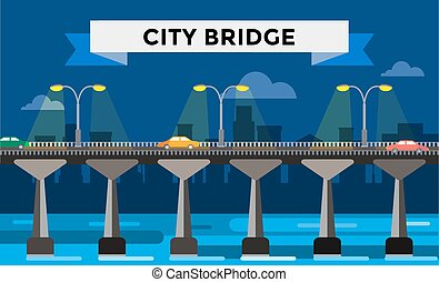 Modern bridge illustration city night view - Modern bridge...
