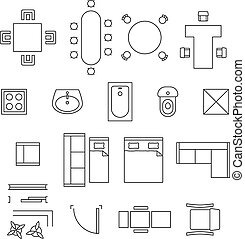 Furniture linear vector symbols. Floor plan icons set....