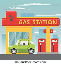 Petrol gas station concept in flat design style Vector...