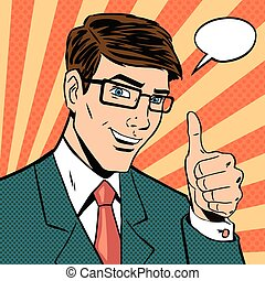 Successful businessman gives thumb up in vintage pop art...