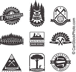 Carpentry, sawmill and woodwork vintage logos, labels and...