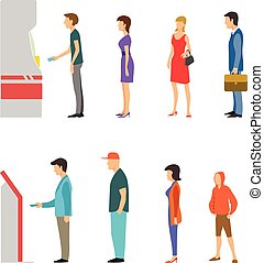 ATM with line of men and women - Banking payment vector flat...