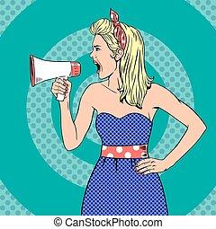 Girl with megaphone or loudspeaker in pop-art style. Vintage...